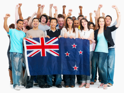 Group of people holding NZ flag