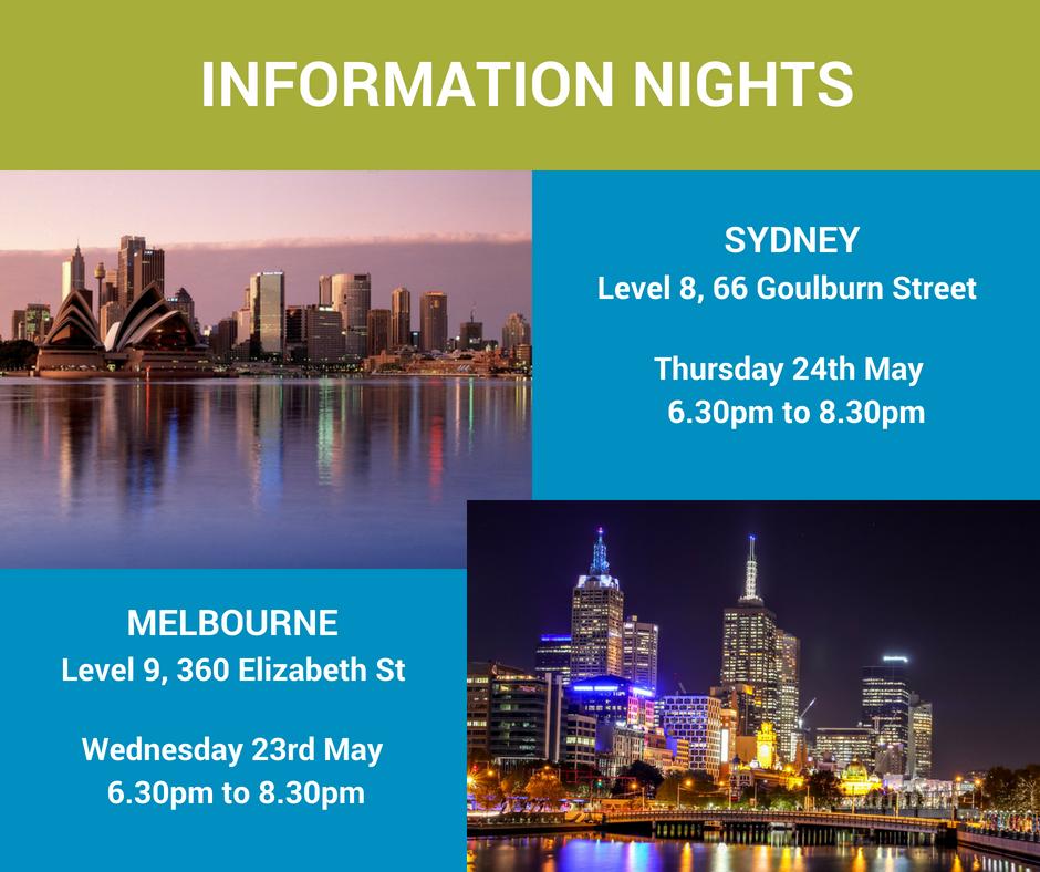 Melbourne and Sydney information nights