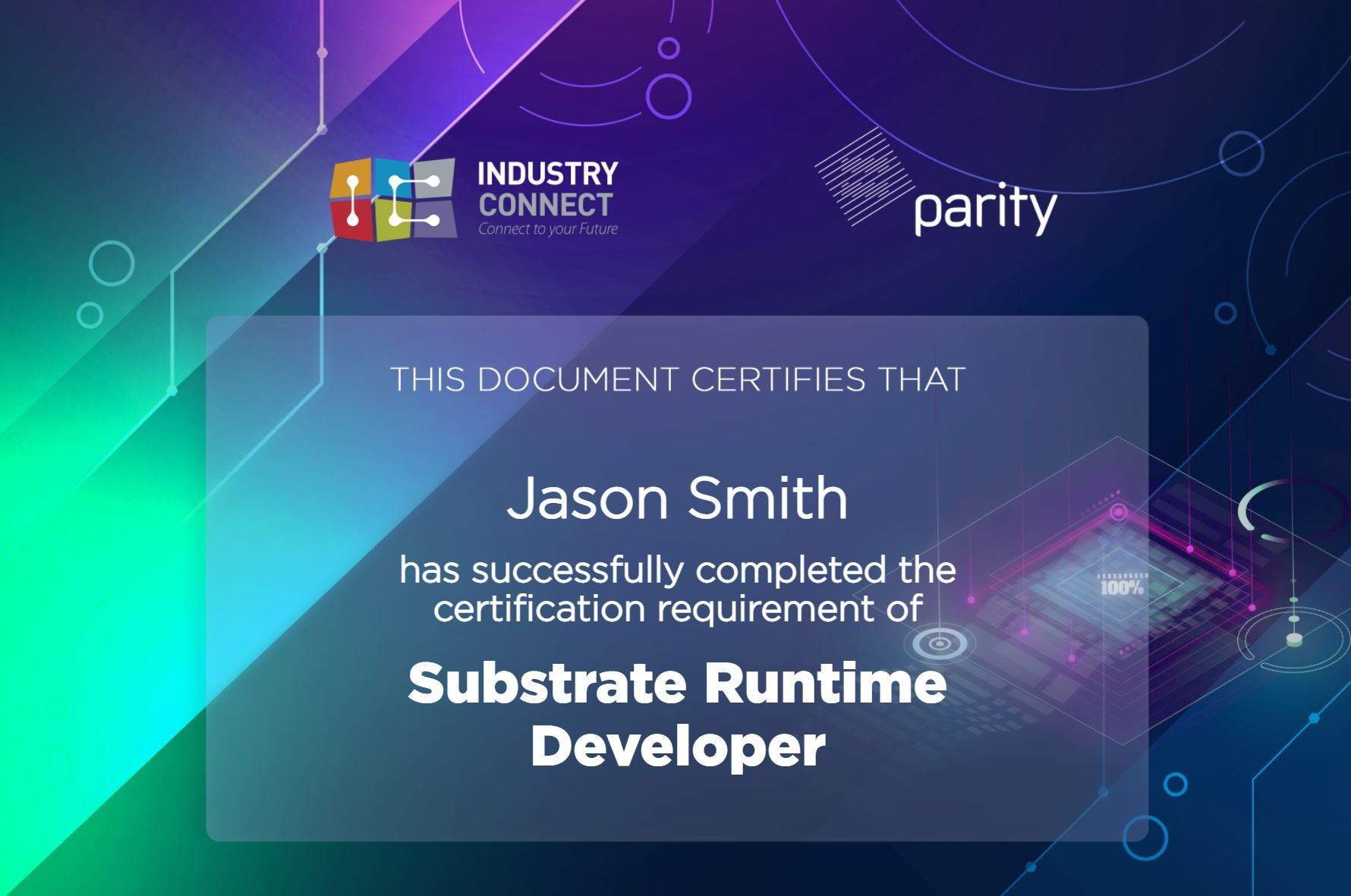 Substrate certificate